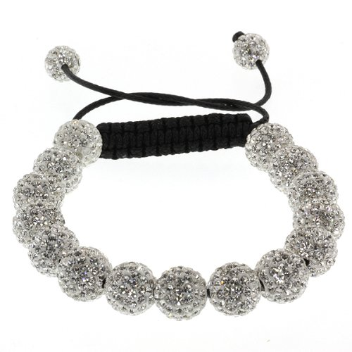 Fully Iced Out Hip Hop 15 White Disco Ball Adjustable Pave 7.5 Inch to 11 Inch Adjustable Bracelet