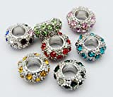 #5 Ten (10) Pack of Assorted Rhinestone Crystal European Style Charm Beads.