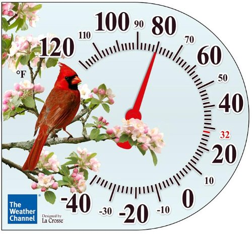 La Crosse Technology The Weather Channel 104-106TWC 6 Inch Cling Thermometer with Cardinal design