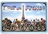 Schnes-Tour-de-France-Motiv-mit-Eiffelturm-Blechschild