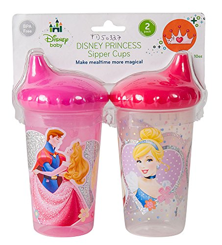 Disney Princess Slim Sippy Cups, Pink, 2 Count