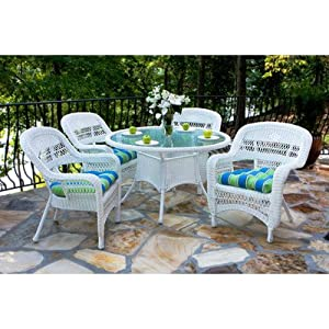 Portside 5 Piece Dining Set Finish: White, Fabric Color: Café Cove Stripe