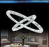 LED Pendelleuchte 3210-2 runde Ringe Luxus Design K9 Kristall chrom