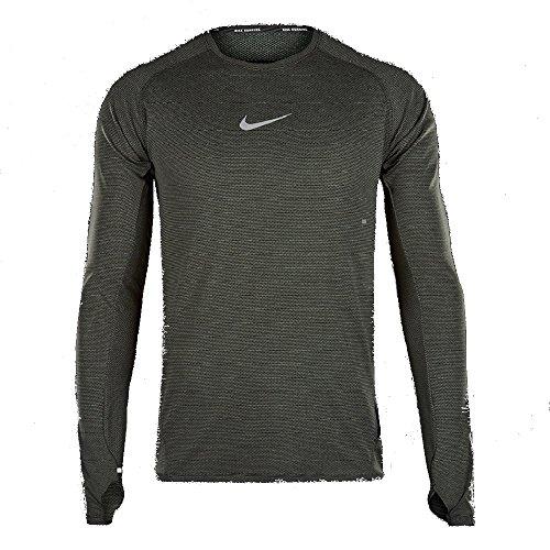 Nike Mens Aeroreact Athletic Running Shirt 800651-687 (X-Large, Black/Reflective Silver)