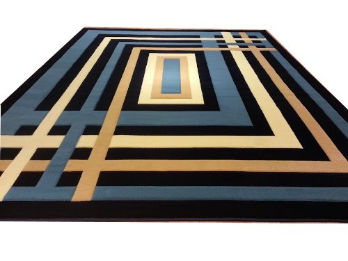 J704 Contemporary Modern Jagged Maze Pattern Dark Blue Navy Hand Carved 5x8 Actual Size 5'3x7'2 Rug