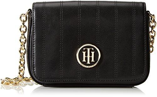 Tommy Hilfiger Damen US Stitched Leather Small Crossover Umhängetaschen, Schwarz (Black 002), 19x13x6 cm thumbnail