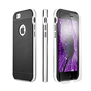 iPhone 6 Case, iPhone 6s Case Black PowerMoxie® [SLIM FIT TOUGH PROTECTION] with Tempered Glass Screen Protector heavy duty Cover for iPhone 6/6s - White (Black)