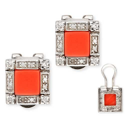 CZ (.925) Sterling Silver Box Shaped With Simulated Coral Set In Center Earrings