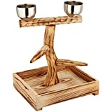 Penn Plax Bird Perch With 2 Stainless Steel Feeding Cups And Drop Tray Wood 11 Inch Height