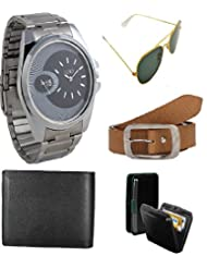 Gift Set Of Watch Sunglass Belt Wallet And Cardholder