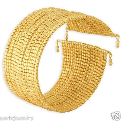ParisJewelry 18k Gold Overlay 'Agra Golden Nugget' Bracelet