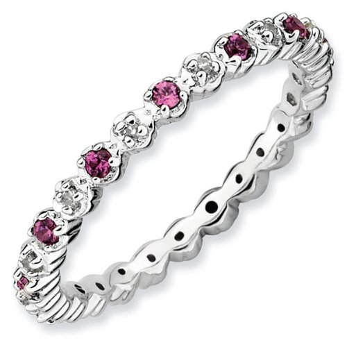 Rhodolite Garnet and Diamond Stackable Ring 1/20ctw
