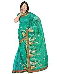 Sehgall Sarees Super Net Saree Attached Brocket Border And Blouse Rama Saree