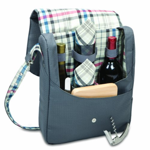 Picnic Time Britannia-Carnaby Street Insulated Dual-Bottle Wine Tote with Service for 2 - 1