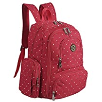 S-ZONE Baby Diaper Bag Travel Backpack Organizer with Changing Pad and Stroller Straps(Red Dot)