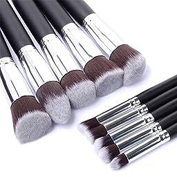 Aliliya Professional 10PCS Premium Luxurious Synthetic Hair Kabuki Makeup Brush Set Cosmetics Foundation Blending Blush Face Powder Brush Makeup Brush Kit (Silver Black)