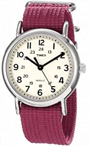 """Timex Unisex T2N652 """"Weekender"""" Fuchsia Nylon Strap Watch"""