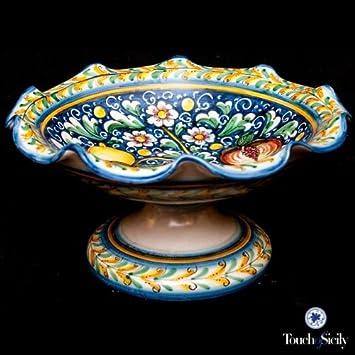Touch de Sicilia, italiano, hecha a mano, centro de mesa. 25,4 cm