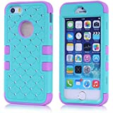 iPhone 5 Case, iPhone 5S Case,Trade A 3-Pieces Hybrid High Impact Tribal PC + Silicone Shockproof Gel Rhinestone Bling Armor Defender Case Cover for Apple iPhone 5S 5 5G with Screen Protector and Stylus(Dark green&Purple)