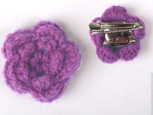 ヘアピン レース モヘア花柄 髪飾り 結婚式 パーティー#薄紫色