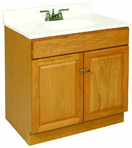 Design House 533471 Claremont Ready-To-Assemble 2 Door Vanity, Honey Oak, 30-Inch by 21-Inch