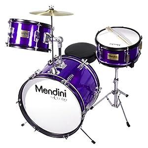 Mendini 3-Piece 16-Inch Junior Drum Set, Metallic Electric Purple - MJDS-3-EP