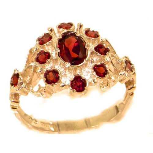 Unusual Solid Rose Gold Natural Garnet Ring with English Hallmarks - Size 6 - Finger Sizes 5 to 12 Available