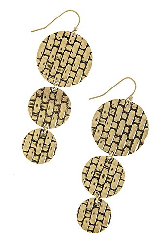The Jewel Rack Woven Textured Disk Link Earrings (Antique Gold)