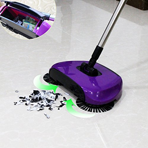 Generic Hand propelled Sweeper Quick And Easy Broom 3 In 1 Purple Home Garden Household