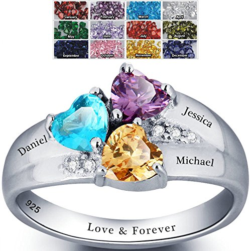 Mothers Ring with Birthstones, Choose 3 Birthstones 3 Names and 1 Engraving Customized and Personalized Size 7 (Mom Ring compare prices)