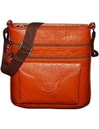 Style98 100% Genuine Pure Leather Unisex Crossbody Shoulder Bag For Men,Women,Boys & Girls