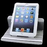 新しいiPad Mini PU 360度に回転させる レザーケーススタンドケース磁石スリープ機能付 iPad Mini 対応 (White 白色)