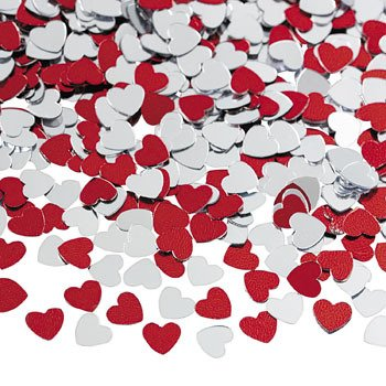 Metallic Foil Red and Silver Heart Confetti - 1