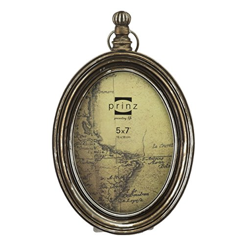Prinz Mackenzie Antique Brass Pocket Watch Resin Frame, 5 by 7-Inch (Antique Picture Frames compare prices)