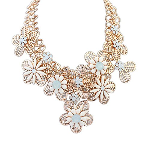 The Starry Night Elegant Statement Gold Plated Hollow Out Petal Splicing Joker Water White Flower Necklace For Womens Girls