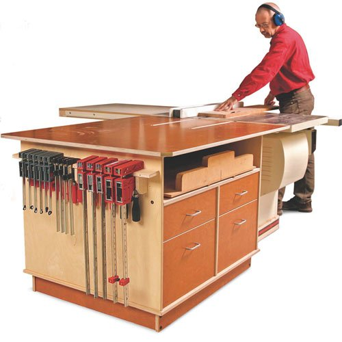 Table Saw Outfeed Table Plans Fine Woodworking Tablesaw Outfeed Cabinet Plan
