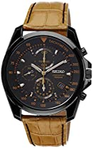 Seiko Chronograph Black Dial Black PVD Tan Leather Mens Watch SNDD69