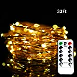 Dimmable String Lights, Aottom 33ft/10m Copper Wire LED String Lights,100 LEDs Christmas Lights with Remote Control For Garden, Patio, Wedding (Warm White)