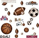 RoomMates RMK1001SCS Play Ball Peel and Stick Wall Decals, Garden, Lawn, Maintenance