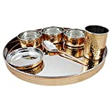 Indian Dinnerware Stainless Steel Copper Traditional Dinner Set Of Thali Plate, Bowls, Glass And Spoon, Diameter...