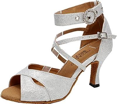 Abroo Q-6214 Womens Latin Salsa Tango Cha-cha Ballroom Kitten Heel Peep-toe PU Professional Dance-shoes