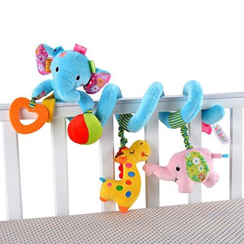 EJY Bébé Jouet de Poussette Berceau Hochet Jouets Animales éducatifs en Peluche, Twisty Spirale d'activités Hanging Jouets éléphant Bleu