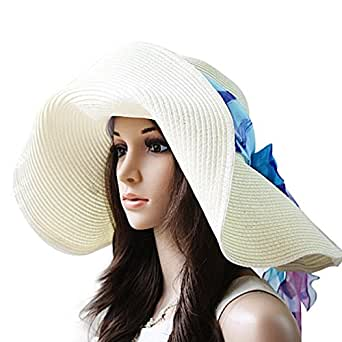 Luxury Lane Women's White Floppy Paper Straw Sun Hat with Removable Blue Scarf