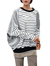 Allegra K Fall Winter Women Stripe Top Patchwork Batwing Top T Shirts,Large / US 14,black,white