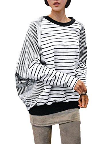 allegra-k-fall-winter-women-striped-splicing-batwing-sleeves-blouse-m-us-10-blackwhite