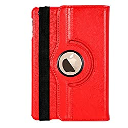 iPad Mini 3 Case, Stand Flip Cover 360 Degree Series PU Leather Premium 360 Degree Rotating Stand Flip Cover With auto wake sleep (Red)