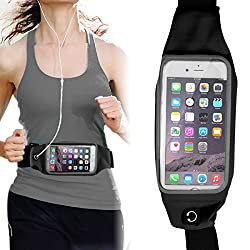 Running Jogging Sports Waterproof Waist Belt Band Bag Case For iPhone 6 / 6s Plus Samsung Galaxy S6 Edge Plus / Note 5 / 3 / 4 - Black