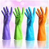 Set of 4 Pairs - ZICOME Reusable Waterproof Household Antibacterial Gloves for Kitchen Dish Washing Laundry Cleaning (Large, 4 Colors)