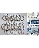 Lot de 14 anneaux ouverts avec crochets pour rideau de douche Argenté brillant Anneaux pour rideau de douche