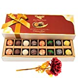 Valentine Chocholik's Belgium Chocolates - Best Treat Of Assorted Truffles With 24k Red Gold Rose